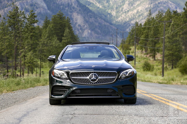 e400 coupe straight-on-shot-driving-down-road