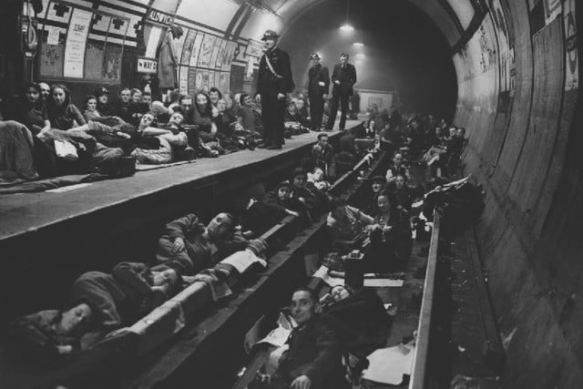 Aldwych-tube-station-being-used-as-a-bomb-shelter-in-1940