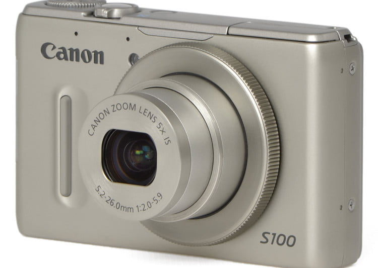 Canon powershot s100 review digital trends canon powershot s100 front angle silver sciox Images