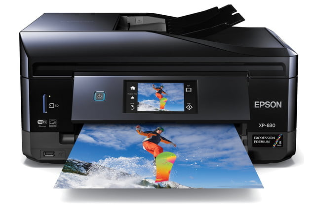 epsons updated expression home photo printers include wide format model epson xp 830 head on