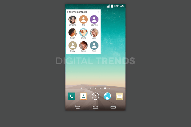 lg g3 homescreen screenshots leak exclusive favorite contacts