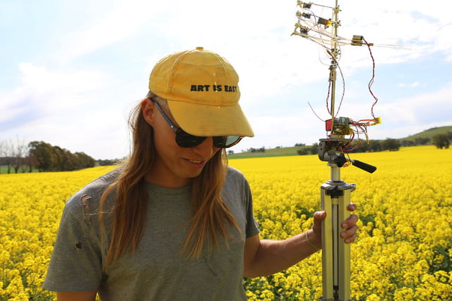 bee attracting robo flower michael candy field tests  image by sarah werkmeister