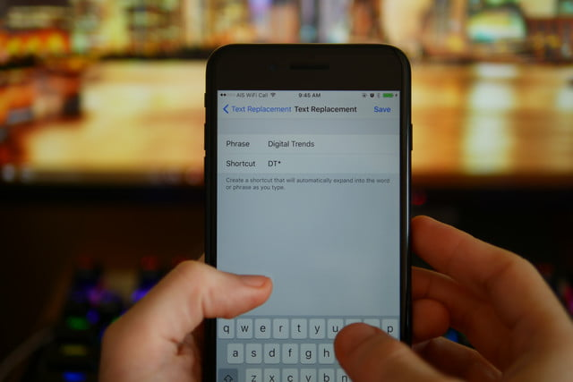 set ios keyboard shortcuts save text replacement