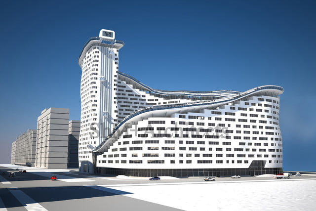 house slalom is an apartment building with a ski slope concept shokhan mataibekov 001