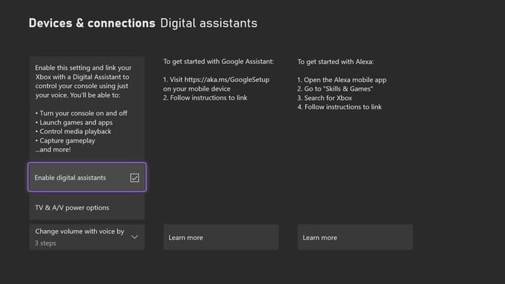 digital assistant settings on xbox series x