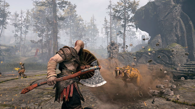 God of War Review | Kratos fights off a large cat