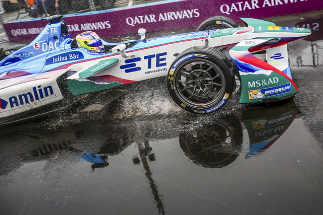 A BMW driver drifting through a puddle in the middle of the NYC ePrix