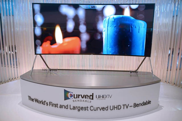 samsungs massive bending 4k tv flexes flat curved right front face samsung 17