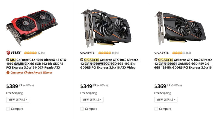 VR Video Card Prices