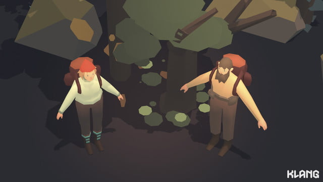 Seed Concept Art above angle of male and female characters in forest