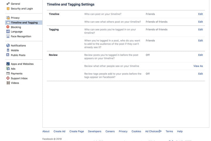 how to set facebook privacy settings timelinetagging