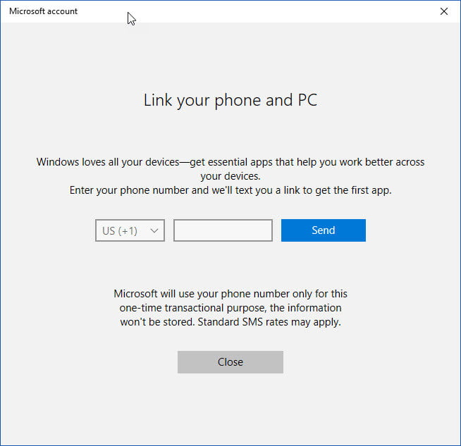 windows 10 continue on pc feature explained link phone dialog